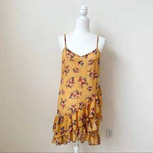 Angie Yellow Floral Asymmetrical Ruffle Midi Dress